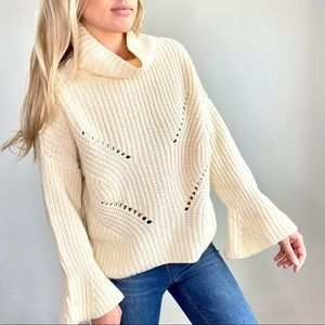 Fab'rik Cream Chunky Knit Flare Sleeve Sweater S